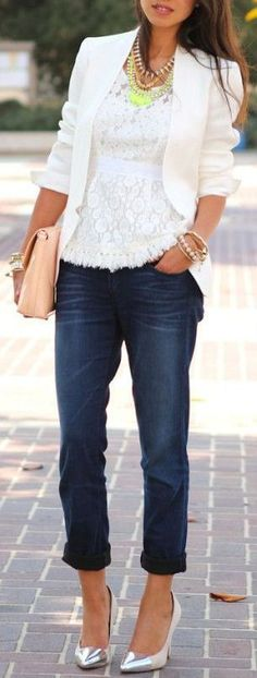 Denim & Lace - Love this look, not crazy about the jacket with it, but love the top with the jeans and heels.