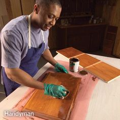 How to Stain Wood Evenly. Woods like cherry pine and birch can become blotchy and unattractive when stained unless you use a sealer before staining. Awesome Woodworking Ideas, Learn Woodworking, Woodworking Projects, Bandsaw Projects, Handyman Projects, Woodworking Basics, Paint Stain, Stain Wood, Stripping Paint