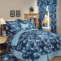 camoflauge blue bedding | Kids Camouflage Bedding - Camo Bed in a Bag Set
