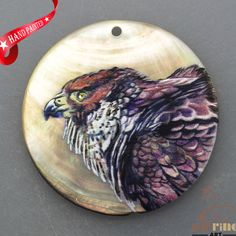 HAND PAINTED EAGLE BIRD NATURAL MOP MOTHER OF PEARL SHELL PENDANT ZP3000320 #ZL #PENDANT