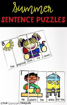Your students will be SO engaged during their writing practice with these Summer themed sentence puzzles! Students will practice sentence structure and use seasonal vocabulary with these colorful puzzles.