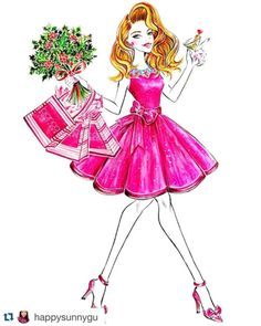 #Repost @happysunnygu with @repostapp. it's that time of the year ______________________________________ #SunnyGu #christmas #holiday #holidaycheer #holidayshopping #shopping #girl #glamour #lifestyle #pink #watercolor #fashion #FashionIllustration #fashionista #instaart #inspire #instalove