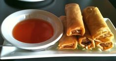 Fresh crispy spring rolls with homemade sweet & sour sauce Island Food, Spring Rolls, 3c, Vancouver Island, Ketchup, Soy Sauce, Vinegar, Rocks, Food And Drink