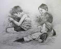 Play. Pencil and graphite on paper From photographs by Linda Grundy