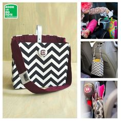 $22.99 SUPER Sale! USC Gamecock Hook Handle Tote with Attached Strap-Custom made logo button-Exclusively Designed-USA made-Car Organizer-Chevron