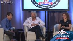 Sir Richard Branson (center) speaks with Anousheh Ansari (right) and Peter Diamandis on Oct. 4, 2014, the 10th anniversary of the Ansari X Prize.<br />