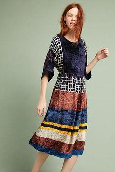 Slide View: 1: Striped Velvet Dress