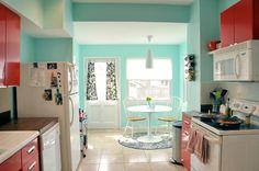 Aqua & Red kitchen