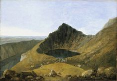 This painting shows Llyn-y-Cau – a lake on the Cader Idris mountain in Wales. Richard Wilson's landscapes would go on to influence the works of Constable, Turner and more. 'Llyn-y-Cau, Cader Idris' by Richard Wilson Tate Landscape Art, Landscape Paintings, Landscapes, Richard Wilson, Manchester Art, Tate Britain, Memorial Museum, Art Uk, National Museum