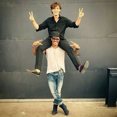 """PRETTY BOY n BABY BOY!!! @gublergram MATHEW'S BDAY was yesterday He is DIRECTING OUR NEXT EPISODE of CRIMINAL MINDS.. Keeping it SILLY n GOOFY for ALL the BABY GIRLS and FANS!! .............. Ummmmm, as cute as you might think this pic is... It's a lil uncomfortable with Mathews """"Situation"""" all over my neck!!!"""
