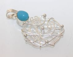 BEAUTIFUL SKY BLUE CHALCEDONY WIRE WORK 925 STERLING SILVER JEWELRY PENDANT S787 #925silverpalace #Pendant