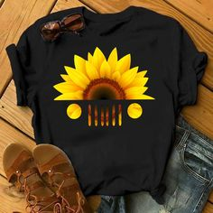 Sunflower Jeep Lover Ladies Tshirt Black Cotton Made In Usa Fast Shipping Men And Women T Shirt Jeep Clothing, Sunflower Shirt, Sunflower Head, Sunflower Clothing, Black Cotton, Casual, At Least, Cute Outfits, T Shirts For Women
