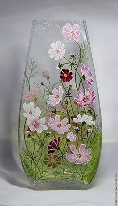Discover thousands of images about Nan Tanner Painted Glass Bottles, Glass Bottle Crafts, Wine Bottle Art, Painted Vases, Glass Painting Patterns, Glass Painting Designs, Stained Glass Patterns, Hand Painted Wine Glasses, Bottle Painting