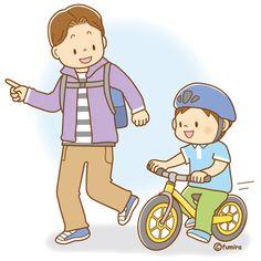 ランニングバイクに乗る男の子とパパのイラスト(ソフト)