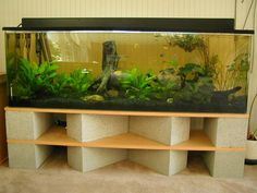 Cinder block aquarium stand - this would be one seriously heavy combination