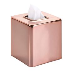 mDesign Modern Square Metal Paper Facial Tissue Box Cover Holder for Bathroom Vanity Countertops, Bedroom Dressers, Night Stands, Desks and Tables - Rose Gold Rose Gold Room Decor, Rose Gold Rooms, Tissue Box Covers, Tissue Boxes, Tissue Box Holder, Room Ideas Bedroom, Bedroom Decor, Bedroom Wall, Gold Desk Accessories