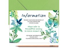 Blue Bestpoke Wedding Information Card Green by LoveArtsStationery