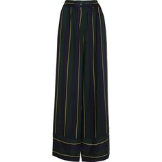 Sacai Striped voile wide-leg pants ($535) ❤ liked on Polyvore featuring pants, sacai, navy, navy blue pants, striped wide leg trousers, striped trousers, stripe pants and pull on pants