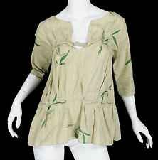 Marni Cotton Gauze 3/4 sleeve Blouse Top size 42 Italy S Bamboo Leaf Print