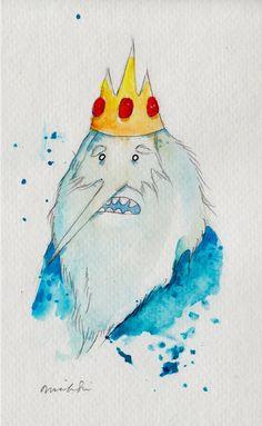 ORIGINAL PAINTING Ice King, 5x8 inches / Adventure Time Fan Art Finn Jake King. $15.00, via Etsy.