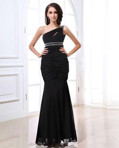 Stylish One Shoulder Beading Ankle Length Chiffon Evening Dress  Read More:     http://www.weddingsred.com/index.php?r=stylish-one-shoulder-beading-ankle-length-chiffon-evening-dress.html