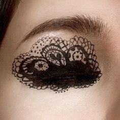 ~ Pretty black lace eye make up. Makeup Fx, Makeup Tips, Beauty Makeup, Hair Makeup, Eyeliner Makeup, Makeup Trends, Eyeliner Designs, Eye Makeup Designs, Fantasy Makeup