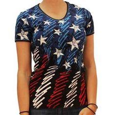 Flag Tshirt with Rhinestones