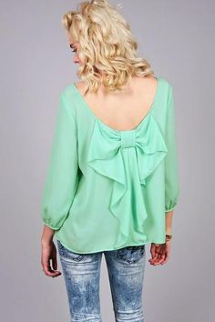 Bow Flutter Blouse | Trendy Clothes at Pink Ice    #cute #feminine #girly #bow #flutter #mint #white #pink #pinkice #ice #blouse #ruffle #spring #spring13 #summer #summer13 #love #want #fashion #fashionable #trendy #fashionista #new #pinkice #women #pretty