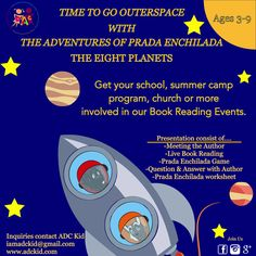 ADC Kid is gearing up for its next book tour, featuring The Adventures of Prada Enchilada, The Eight Planets. Get your school, organization, community center, store and more on our list. Email us at iamadckid@gmail.com for more info. #adckid