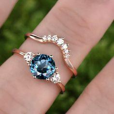 Vintage Art deco Filigree Ring Bridal Moissanite Ring Natural London Blue Topaz Gemstone Wedding Ring Cushion Ring Gift For Anniversary