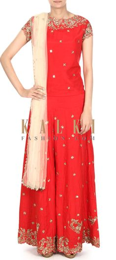 Buy this Red palazzo suit adorn in zardosi embroidery only on Kalki