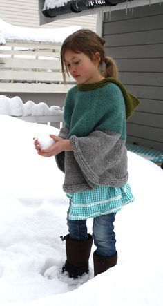 Free knitting pattern for Cool Cape for adults and children - Pickles designed this poncho with hood that is sized for children and adults. Sizes 2 years (3-4) 5-7 (8-10) 11-13 (14-16) S/M (L/XL)