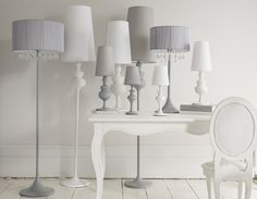 lots of lamps Private Label, White Shop, Homework, Lamps, Sweet Home, Detail, Lighting, House Styles, Grey