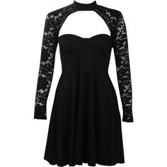 Boohoo Afua Choker Lace Detail Skater Dress (€15) ❤ liked on Polyvore featuring dresses, black, bodycon party dresses, maxi dresses, midi cocktail dress, bodycon maxi dress and party dresses