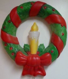vintage blow molds christmas   Vintage Blow Mold Illuminated Christmas Candle Wreath Empire ...