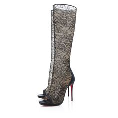 Alta Dentelle Dentelle 100MM Black Lace. Christian Louboutin high heel boots (knee high)