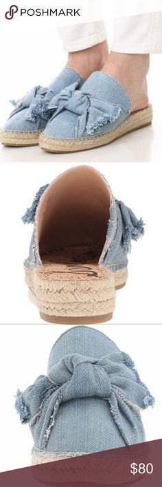 """Sam Edelman Lynda Bow Espadrille Mules Beautiful slip ons in blue denim. Synthetic sole. Heel measures 1.25"""". Never worn. Mint condition. Smoke free/pet free home. No trades. I only deal through Poshmark. Sam Edelman Shoes Mules & Clogs"""