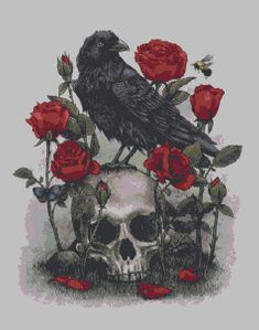 Black Friday Sale -  Black Raven & Roses Skull Cross Stitch PDF - Needlework Pattern, DIY Crossstitch Chart, Relaxing Hobby, Instant Downloa by KustomCrossStitch  https://www.etsy.com/listing/261385334/black-friday-sale-black-raven-roses?ref=rss