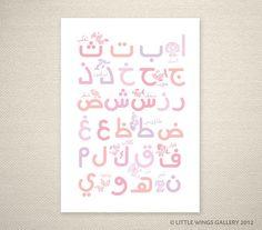 Arabic Alphabet (Pink) Islamic Art Print, Modern Islamic Wall Art