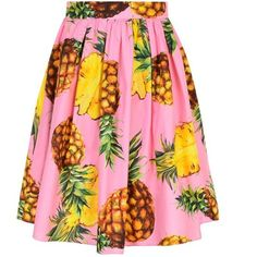 Dolce And Gabbana Pineapple Print Skirt (19,445 DOP) ❤ liked on Polyvore featuring skirts, bottoms, rosa, high waisted knee length skirt, high-waisted skirts, flare skirt, high waisted flare skirt and high waisted skirts