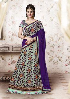 Light Aqua Net Wedding Lehenga Saree 61202