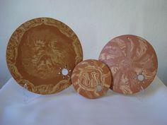 Jogo de Mandalas Solar, em cerâmica (nerikomi). Loja virtual: www.artbydarlene.elo7.com.br