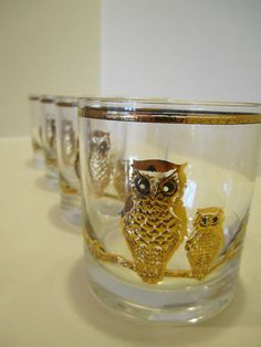 Vintage Mod Owl Glasses by Culver Set of Four