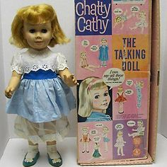 """This groundbreaking Mattel doll, created in 1959, could speak 11 phrases when its """"chatty ring"""" was activated with a pull of the string on its back."""