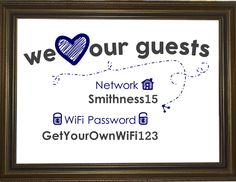 Cute in a frame in the guest room... Wi-Fi Network & Password Sign | Home Decor by AshAlaMode | Gallery Wall | funny wifi