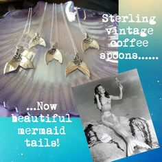Sterling silver mermaid tails crafted from vintage coffee spoons www.oohshinystuff.co.uk