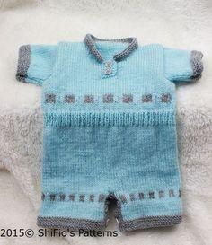 Knitting pattern for boys romper suit onesie 0-3mths PDF от ShiFio