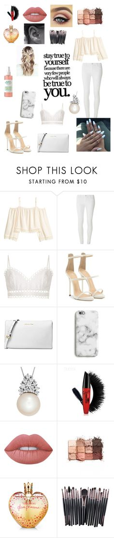 """""""White glamour outfit"""" by liliana2003 ❤ liked on Polyvore featuring H&M, Dorothy Perkins, Zimmermann, Giuseppe Zanotti, Michael Kors, Harper & Blake, Lime Crime, tarte and Vera Wang"""
