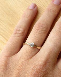 4mm Prong Set Diamond Branch Ring by kateszabone on Etsy