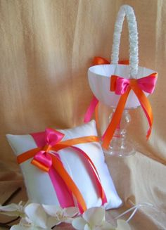 Hot Pink & Orange Wedding Colors Flower Girl basket & Ring Pillow Set